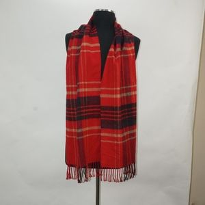 Versatile Plaid Scarf Red/Black/Tan